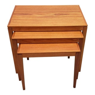 1950s Danish Modern Teak Nesting Table Set - 3 Pieces For Sale