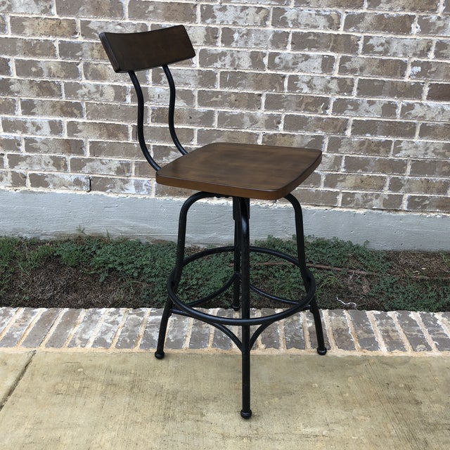 2010s Industrial Wood and Metal Bar Stool For Sale - Image 5 of 5