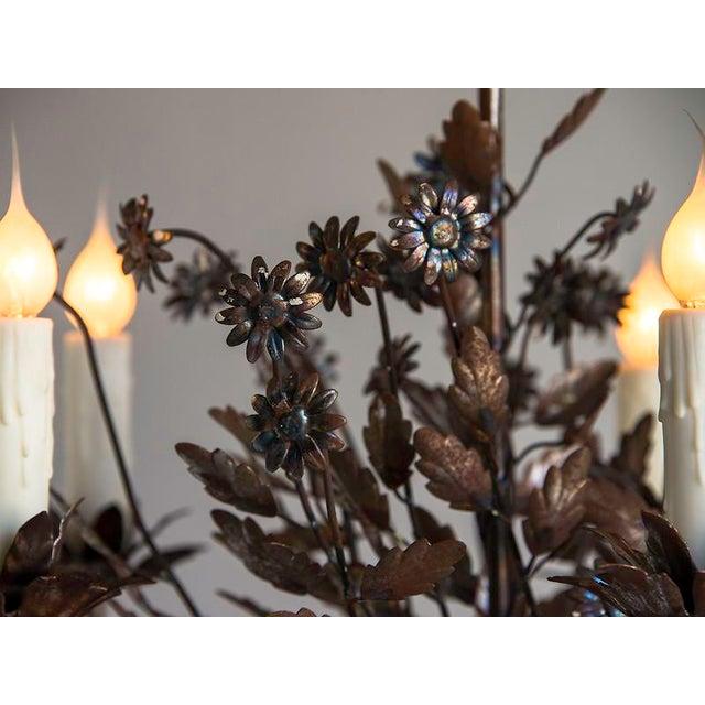 1940s Vintage Steel Floral Bouquet 5 Light Chandelier For Sale - Image 9 of 9