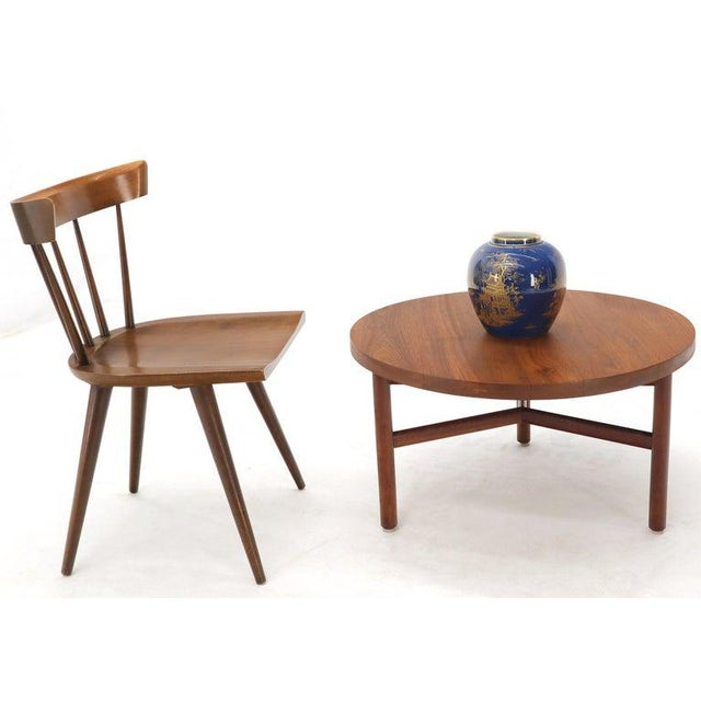 Mid-Century Modern Thick Solid Teak Top Round Coffee Center Table For Sale - Image 3 of 11