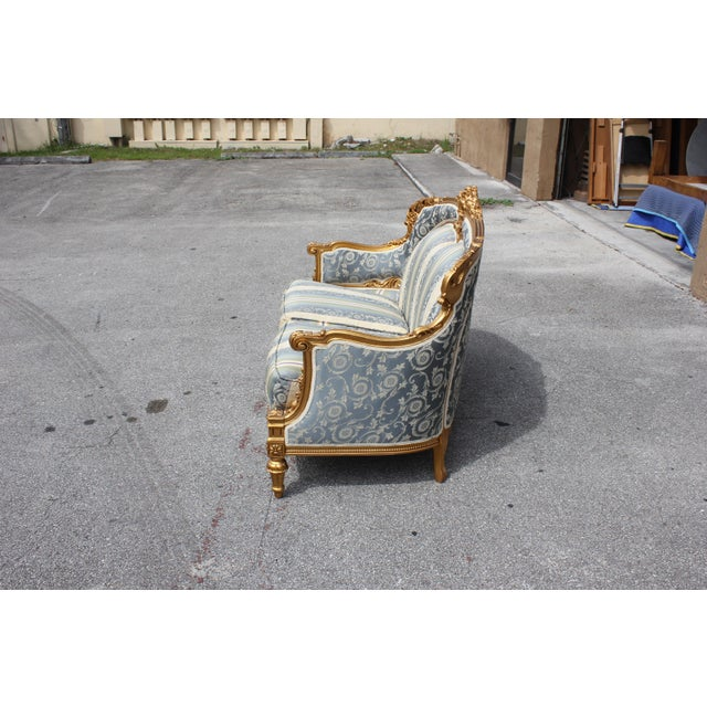 1940s Vintage French Louis XVI Style Giltwood Loveseat For Sale In Miami - Image 6 of 13