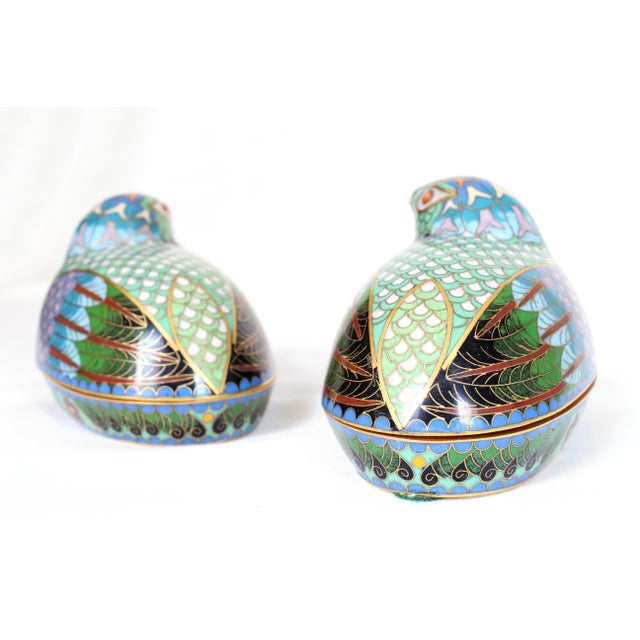 Asian Chinese Cloisonné Quail/Partridges - a Pair For Sale - Image 3 of 5