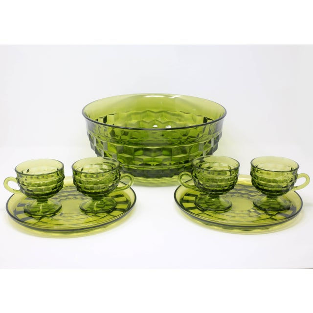 1970's Colony Whitehall Collection Green Punch Bowl, Cups and Plates - Set of 7 For Sale - Image 10 of 11