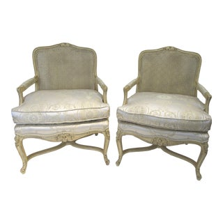 Vintage French Country Style Cane-Back Chairs - a Pair For Sale