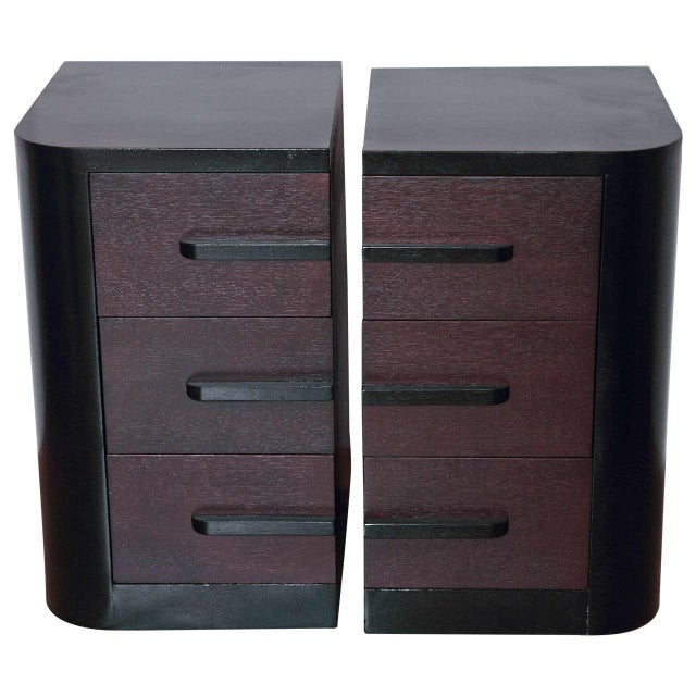 Streamline Pair of Modernage Art Deco Bookend Matched Ebonized Nightstands For Sale - Image 11 of 11