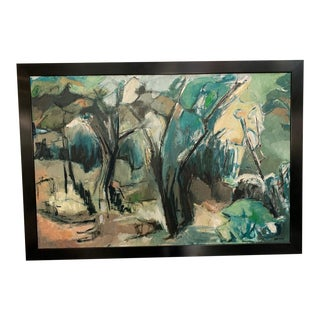 Large Mid 20th Century Abstract Landscape Painting For Sale