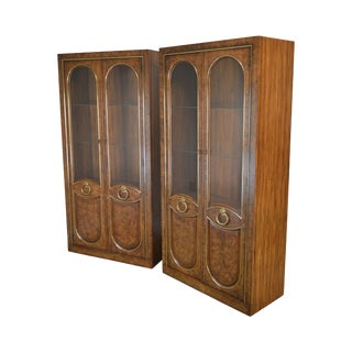 Weiman Hollywood Regency Pair Burlwood Display Cabinets For Sale