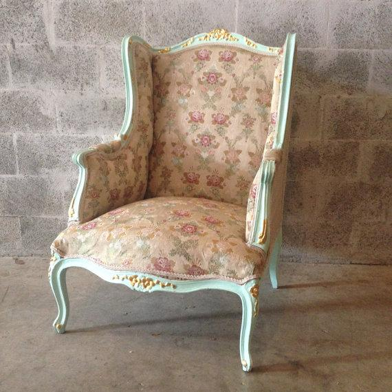 Louis Xvi Green Italian Wingback Chair Chairish