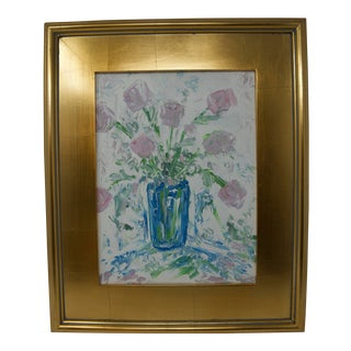 Lavender Roses in a Blue Vase Painting For Sale