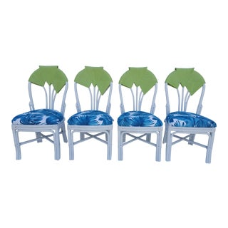 """Tropical """" Leaf Motif """" Back Rattan Dining Chairs - Set of 4"""