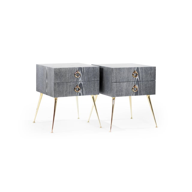 Mid-Century Modern Gibby Collection End Tables in Limed Oak For Sale - Image 3 of 11