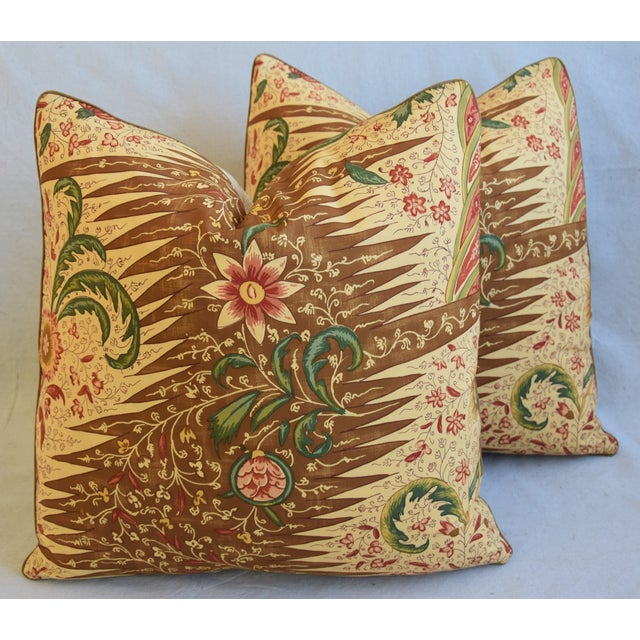 """French Pierre Frey La Riviere Feather/Down Pillows 21"""" Square - Pair For Sale - Image 12 of 13"""