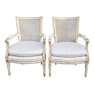 Antique French Louis XVI Style Caned Back Bergere Chairs-A Pair For Sale