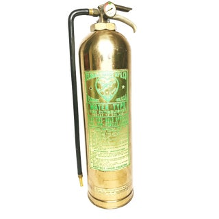 """Antique Large Authentic Brass and Copper Elkhart Brass Company """"Water Type"""" Fire Extinguisher For Sale"""