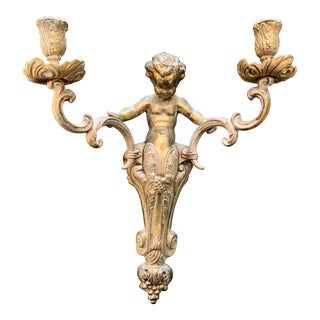 Vintage Cherub Double Candelabra Sconce For Sale