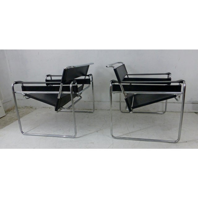 Marcel Breuer Black Leather Chrome Wassily Chairs - A Pair - Image 7 of 10