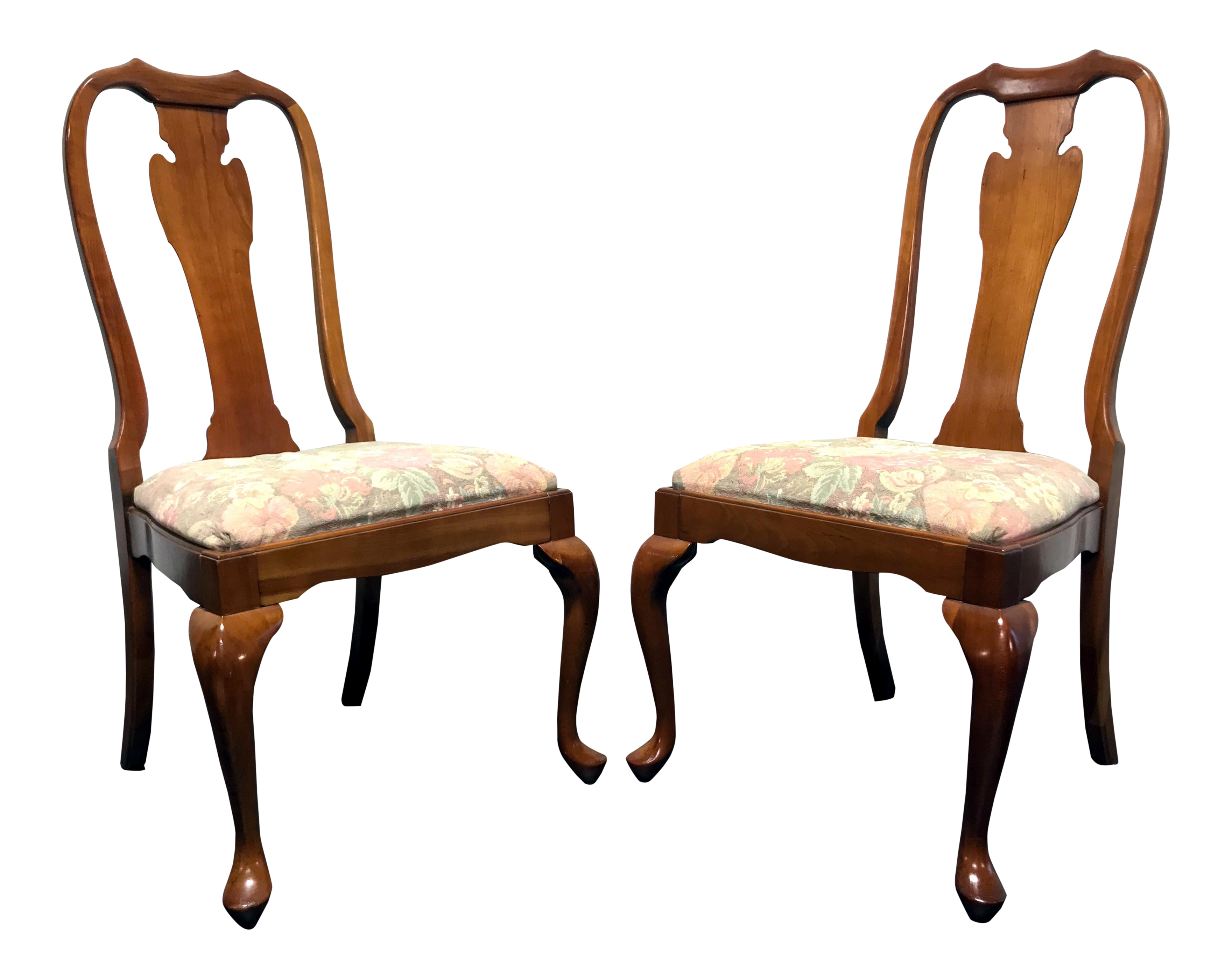 High Quality Harden Solid Cherry Queen Anne Dining Chairs   A Pair