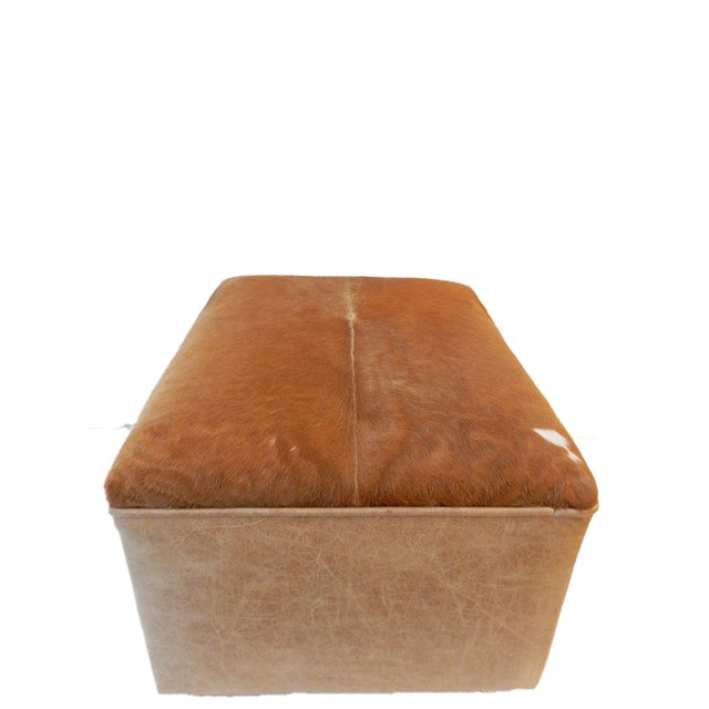 Brown LG Cow Hide & Faux Leather Ottoman For Sale - Image 8 of 10
