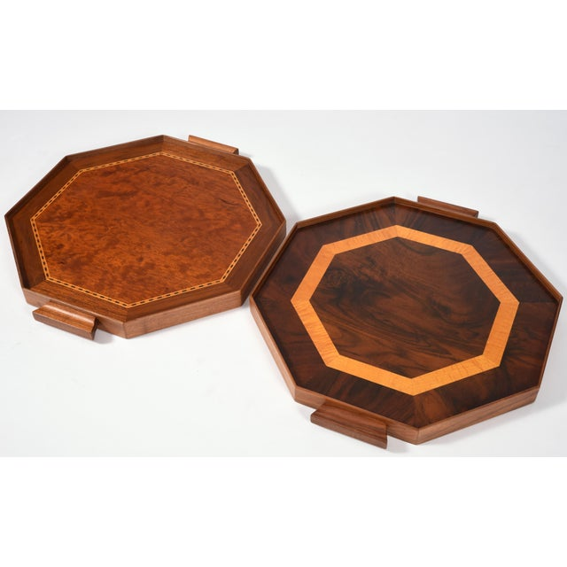 Late 20th Century Mid-Century Modern Burlwood Barware or Serving Trays - a Pair For Sale - Image 5 of 11