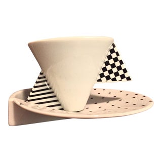 Mikasa Black and White Geometric Cup and Saucer