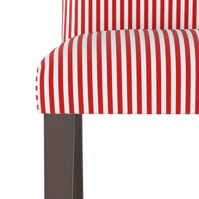 Spritely Home Camel Back Dining Chair in Candy Stripe Red Oga For Sale - Image 4 of 7