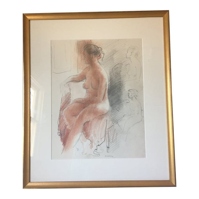 Adolf F Konrad Mid-Century Nude Drawing For Sale