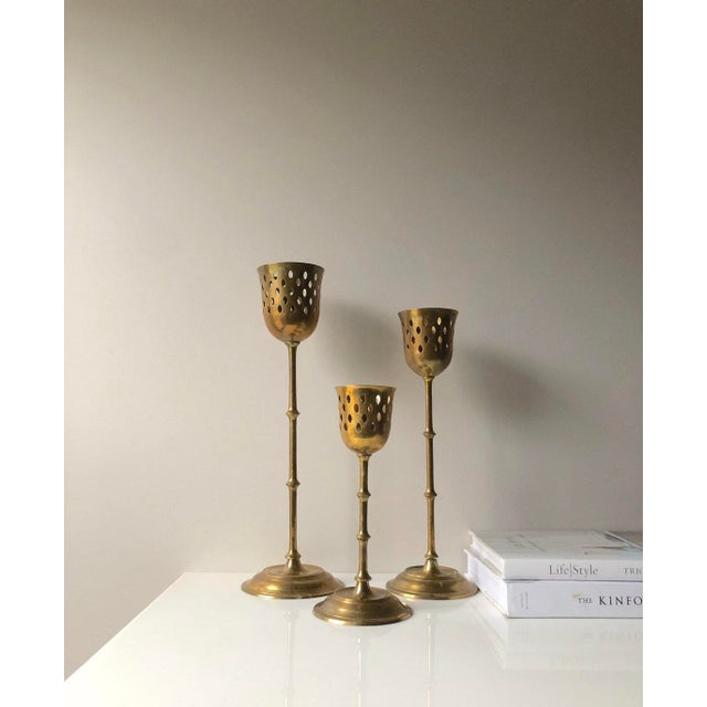 1970s Set of Three Tall Brass Candle Holder Set For Sale - Image 5 of 8