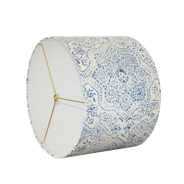 Moroccan style blue and white hand printed fabric lamp shade chairish moroccan style blue and white hand printed fabric lamp shade image 2 of 4 aloadofball Images