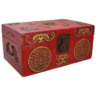 19th Century Red Lacquer Gilt Gold Box Casket For Sale