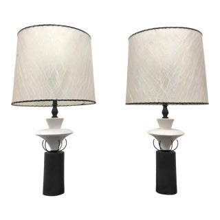 Mid-Century Modernist Black and White Table Lamps With Fiberglass Shades - a Pair For Sale
