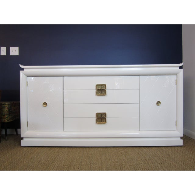 White Lacquer Chinoiserie Credenza - Image 10 of 10