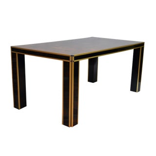 Romeo Rega Brass and Burl Wood Dining Table For Sale