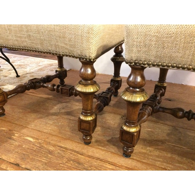 Regal Set of Eight Early French Carved Walnut and Bronze Gilded Dining Chairs For Sale In Philadelphia - Image 6 of 10