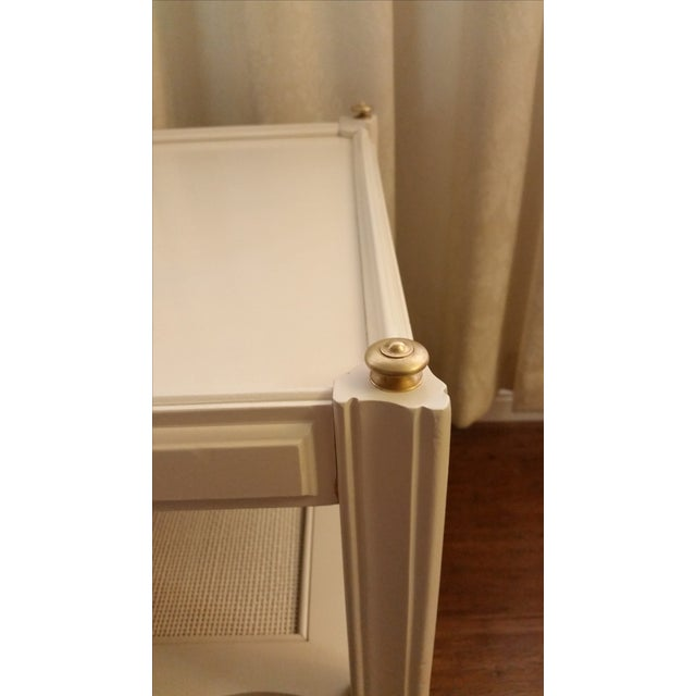 White Solid Wood & Cane Two-Tier End Table - Image 6 of 6