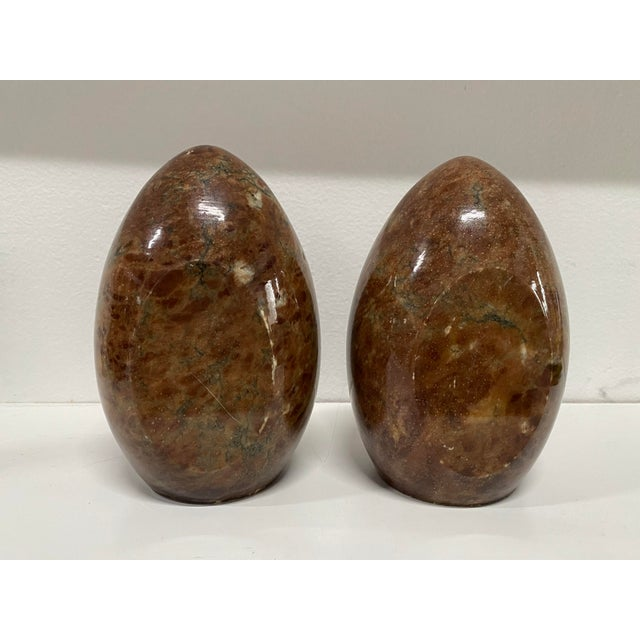 Vintage Italian Marble Egg Bookends - a Pair For Sale - Image 4 of 12