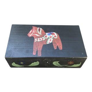 Vintage Swedish Folk Art Dala Horse Box For Sale