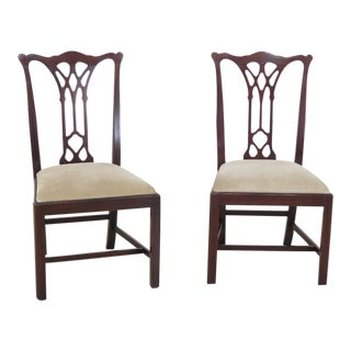 1990s Chippendale Style Mahogany Side Chairs - A Pair For Sale