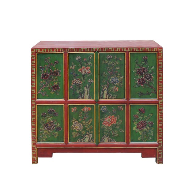 Chinese Red Green Floral Graphic Credenza Storage Cabinet For Sale