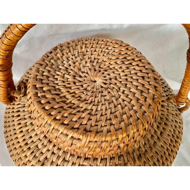 Vintage Large Lidded Basket For Sale - Image 9 of 13