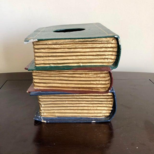 Late 20th Century Trompe l'Oeil Papier Mache Stacked Books Tissue Box Cover For Sale - Image 5 of 9