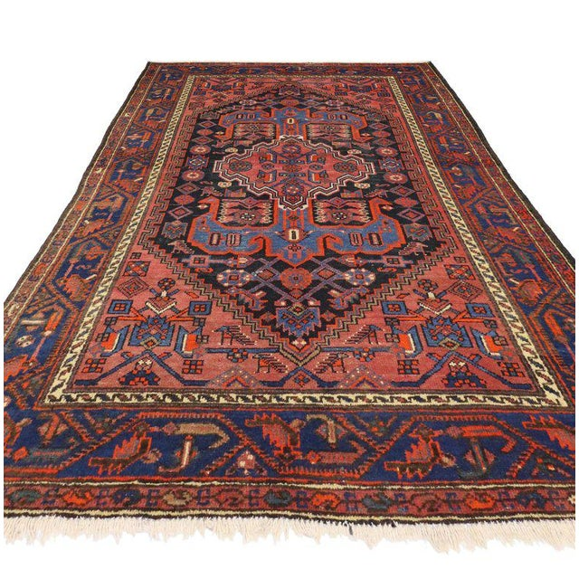 Farmhouse Antique Persian Hamadan Rug with Modern Tribal Style For Sale - Image 3 of 8