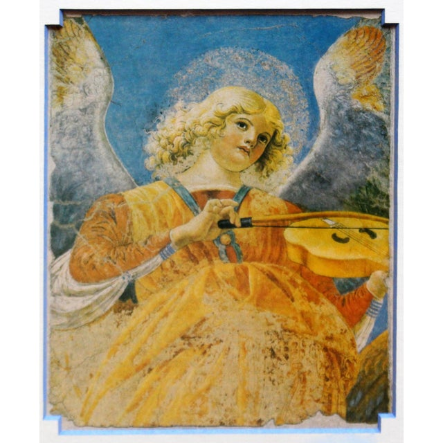 Charming print of a fresco fragment - Angel with violin. Handsomely framed & matted by Studio Frames, Chapel Hill....