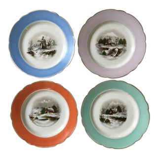 1940s Antique Decorative Porcelain Plates - Set of 4 For Sale