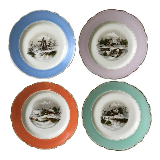 1940s Antique Decorative Porcelain Plates - Set of 4 For Sale