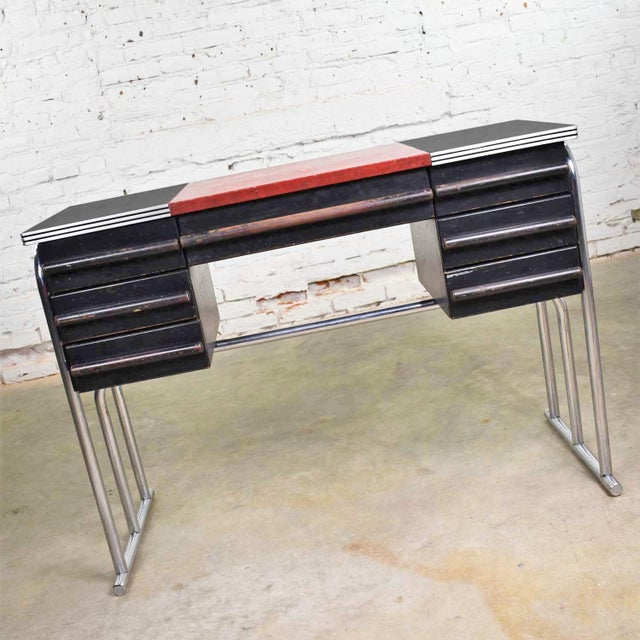 Fabulous Art Deco, Machine Age, Streamline Modern, Art Moderne, International Style, Bauhaus desk or vanity in chrome,...