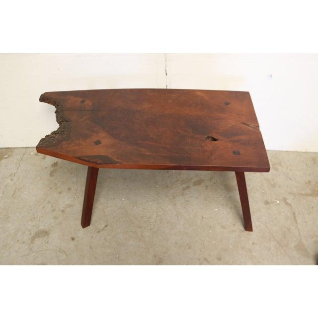 Inscribed Handmade Live Edge Coffee Table - Image 4 of 8