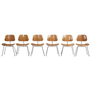 Set of Six Matched and Early Charles Eames Dcm Dining Chairs for Herman Miller For Sale