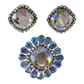 Vendome Brooch Pin Earrings Set Iridescent Aurora Borealis Rhinestones Vintage For Sale