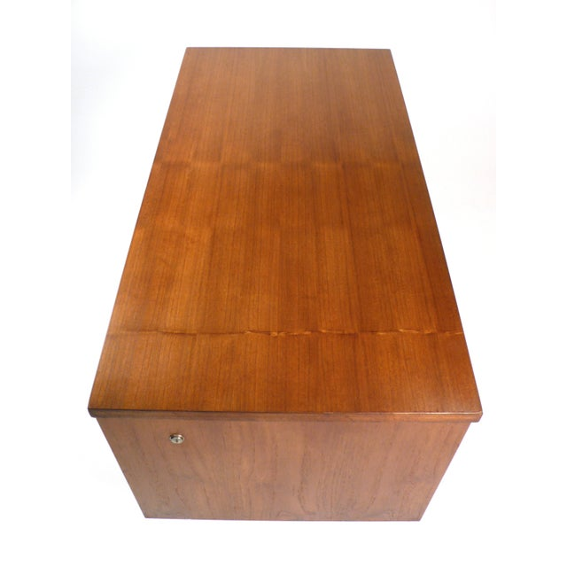 Brown Three Drawer Danish Desk For Sale - Image 8 of 10