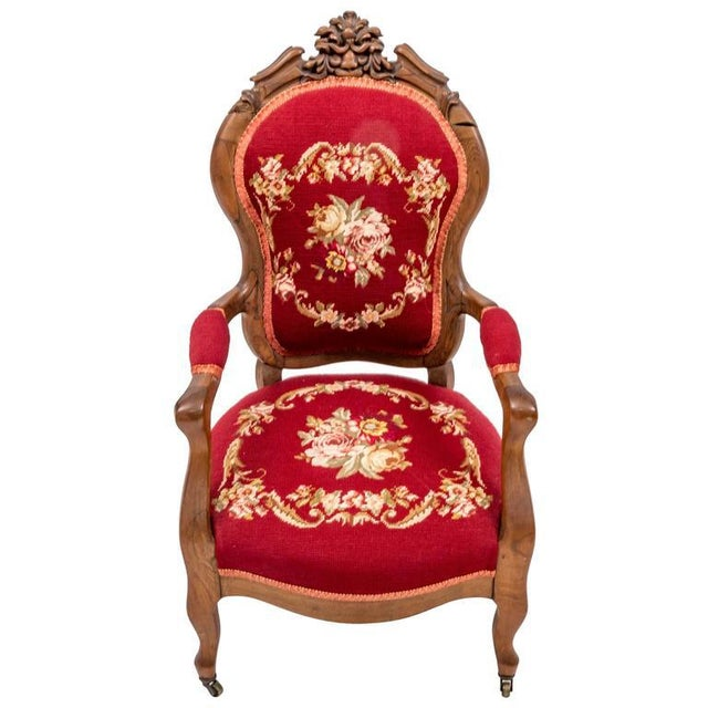 Traditional Childs Victorian Needlepoint Upholstered Armchair For Sale - Image 3 of 3